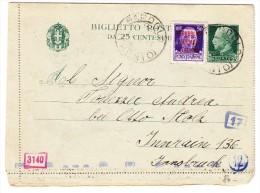 Italien 1944 Zensurierte 25c. Grün Ganzsache + 50c. RSI Nach Innsbruck - 1944-45 République Sociale