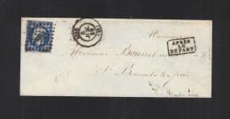 Lettre 1856 Lyon Apres Le Depart Pour St. Bonnet-le-Froid - Poststempel (Briefe)