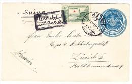 Syrien 1917 Türkische Ganzsachen Brief Von Halep Nach Zürich Vom Sektionsingenieur Bagdadbahnbau - Syria