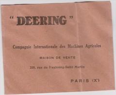 Ancienne  Enveloppe  Lettre :   DEERING  , A  PARIS - France