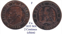 F-1855 MA, 2 Centimes - Francia
