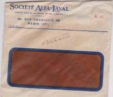 Ancienne  Enveloppe  Lettre :  Paris  ,  Sociètè  Alfa-Laval - France