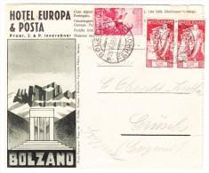 Italien 1938 Hotel Reklame Faltbrief Von Bolzano Nach Grüsch GR (innen 8 Bilder) - Italien
