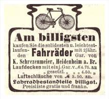 Original Werbung - 1904 -K. Schrezenmeier In Heidenheim A. Brenz , Fahrräder , Fahrrad , Bicycle !! - Transport