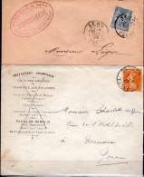 Lettre à Entête Brasserie De Sens  - Cachet  De Sens Du 13/09/1899 - Et Café Des Arcades Du 7.3.22 - Bières
