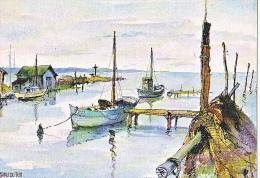 24107 LE GRAU DU ROI - Le Canal - Aquarelle Robert Lepine -15.30.0014 -Yvon -bateau Pecheur - Le Grau-du-Roi