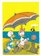 Donald Dack E Paperina Sulla Spiaggia :Walt  Disney Productions . Viaggiata Nel 1971. In Ottimo Stato - Disneyworld