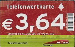 Telefonkarte.- Telefonwertkarte. Austria. € 3,64. Jet2web 2 Scans - Oostenrijk