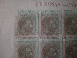 Espagne Spain COLONIE Filippine Alfonso IIX 1881- 1888 Stamps-Telegraphe Imperf Big Variety!! Duble Color! Green ,brown! - Filippijnen