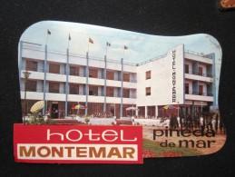 HOTEL RESIDENCIA PENSION MONTEMAR PINEDA DE MAR  BARCELONA SPAIN LUGGAGE LABEL ETIQUETTE AUFKLEBER DECAL STICKER MADRID - Hotel Labels