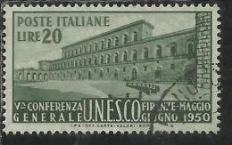 ITALIA REPUBBLICA ITALY REPUBLIC 1950 UNESCO LIRE 20 USATO - USED - OBLITERE´ - 6. 1946-.. Repubblica
