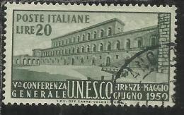 ITALIA REPUBBLICA ITALY REPUBLIC 1950 UNESCO LIRE 20 USATO - USED - OBLITERE´ - 1946-60: Gebraucht