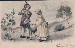 Heureuses Paques, Enfants Et Mouton, Litho Gaufrée (3671) - Ostern