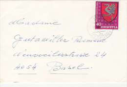 7164- GRUYERES TOWN COAT OF ARMS, STAMP ON COVER, 1978, SWITZERLAND - Suisse