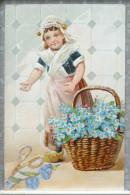 Litho Relief Illustrateur Fille Fillette Folklore Coiffe Panier Myosotis Decoupis Collage Ciseau Fleur Voyagé 1907 - Scènes & Paysages