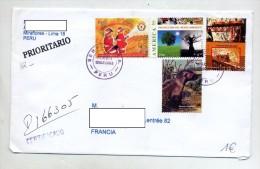 Lettre Par Avion Recommandee  Arbre Animal Train + Vignette Douane CN 22 - Peru