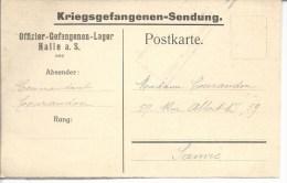 Kriegsgefangenensendung Offficier PG Sur Carte Dédiée Du Camp De Halle Vers Sanvic Le Havre - Marcophilie (Lettres)