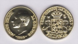 FILIPINAS  (Colonia Española-Rey Alfonso XII) 4 PESOS  1.883  ORO/GOLD  KM#151  SC/UNC  T-DL-11.071 REPLICA  Espa. - Filipinas
