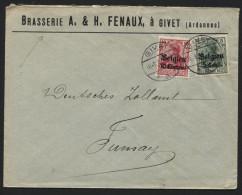 TP surcharg�s BELGIEN utilis�s en France obl. GIVET s/ lettre ( brasserie brouwerij Fenaux) vers Fumay 16/1/17. TB