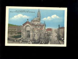 SAINT ST ETIENNE Loire 42 : Eglise François Régis Rue De St Chamond Immeuble En Construction Mur Peint Armagnac Kola - Saint Etienne