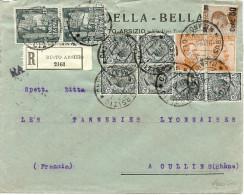 LSAU9- VE III MARCIA SU ROMA + LEONI ET MICHETTI SUR LETTRE RECOMMANDEE BUSTO ARSIZIO/OULLIN NOVEMBRE 1923 - Marcophilia