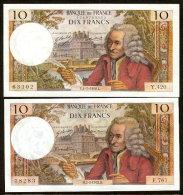 VOLTAIRE - 10F - 4.7.1968 #  2.3.1972 #  -  LOT DE 2  BILLETS  NEUFS - 1962-1997 ''Francs''