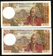 VOLTAIRE - 10F - 2.12.1971 #  2.3.1972 #  -  LOT DE 2  BILLETS  NEUFS - 1962-1997 ''Francs''