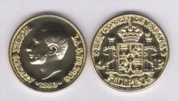SPANJE / ALFONSO XII  FILIPINAS (MANILA)  4 PESOS  1.883  ORO/GOLD  KM#151  SC/UNC  T-DL-11.071 COPY  Holan. - Provinciale Munten