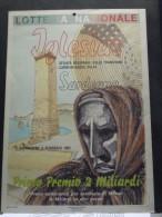 """LOCANDINA LOTTERIA NAZIONALE  """"SFILATA REGIONALE CARNEVALESCHE IGLESIAS"""" ANNO 1991 COME DA FOTO - Lottery Tickets"""