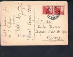 F2558 Annullo Storia Postale:Cervicati 1951- Comune Di 900 Abit. Di Cosenza Su Cartolina D' Auguri - 6. 1946-.. Republic
