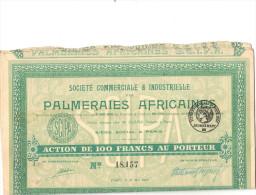Action De 100 Francs Palmeraies Africaines Avec Tous Les Coupons - Afrique