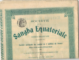 Action De 100 Francs SANGHA Equatoriale Congo Français Avec Tous Les Coupons - Afrique