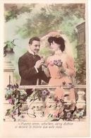 PAREJA COUPLE PAAR MA MOITIÉ LOVERS BOYFRIENDS NOVIOS GROOMS ENGAGEMENT EDI. PAS ÉMIS VOYAGÉE 1907 GECKO. - Koppels