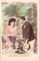 PAREJA COUPLE PAAR MA MOITIÉ LOVERS BOYFRIENDS NOVIOS GROOMS ENGAGEMENT PAS ÉMIS VOYAGÉE 1905 GECKO. - Koppels