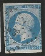 France - Napoleon III - N°14A Bleu - Obl.lettres CP3° - 1853-1860 Napoléon III