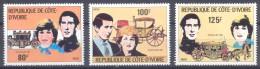 Cote D´Ivoire YT N°580/582 Mariage Royal Du Prince Charles Et Lady Diana Spencer Neuf ** - Côte D'Ivoire (1960-...)