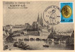 Cpsm  50  Saint-lo , Journee Du Timbre 1975..,vue Generale De St-lo En 1840... - Saint Lo