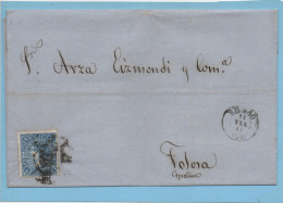 Carta Bilbao Tolosa 1865 , Edifl No.75 - Cartas
