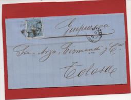 Carta Bilbao Tolosa Guipuzkoa 1865 , Edifl No.75 - Cartas