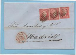 Carta Valencia Madrid 1856 ,3 X  Edifl No.48 Sin Filigrana - Cartas