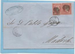 Carta Valencia Madrid 1858 ,2 X  Edifl No.48 Sin Filigrana - Cartas