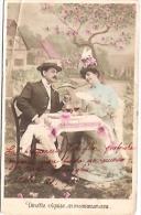 PAREJA COUPLE PAAR MA MOITIÉ LOVERS BOYFRIENDS NOVIOS GROOMS ENGAGEMENT PAS ÉMIS CIRCULEE 1906 TIMBRE ARRACHES GECKO. - Koppels