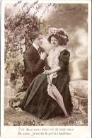 PAREJA COUPLE PAAR MA MOITIÉ LOVERS BOYFRIENDS NOVIOS GROOMS ENGAGEMENT ED.E.P.R CIRCULEE 1908 TIMBRE ARRACHES GECKO. - Koppels