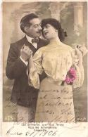 PAREJA COUPLE PAAR MA MOITIÉ LOVERS BOYFRIENDS NOVIOS GROOMS ENGAGEMENT ED.A.S CIRCULEE 1906 TIMBRE ARRACHES GECKO. - Koppels