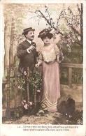 PAREJA COUPLE PAAR MA MOITIÉ LOVERS BOYFRIENDS NOVIOS GROOMS Nº1842 ED.S.I.P CIRCULEE CIRCA 1906 TIMBRE ARRACHES GECKO. - Koppels