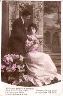 PAREJA COUPLE PAAR MA MOITIÉ LOVERS BOYFRIENDS NOVIOS GROOMS ENGAGEMENT PAS ÉMIS VOYAGÉE 1909 TIMBRE ARRACHES GECKO. - Koppels