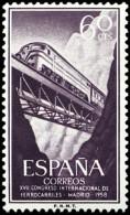 ESPAÑA SEGUNDO CENTENARIO NUEV Nº 1233 ** 60C VIOLETA NEGRUZCO FERROCARRILES - 1931-Aujourd'hui: II. République - ....Juan Carlos I