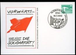 DDR PP18 B1/006 Privat-Postkarte SOLIDARIT�T Spst. Schwerin 1982