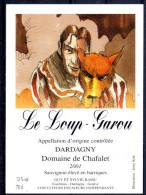 THEME ANIMAUX étiquette De Vin SAUVIGNON / LE LOUP GAROU - Perros