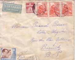 DANAMARK - BELLE LETTRE RECOMMANDEE PAR POSTE AERIENNE POUR LA FRANCE EN 1947. - Covers & Documents